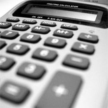 Black white photo of calculator